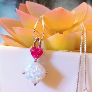 🆕🌺 White Fire Opal Necklace